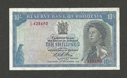 RHODESIA 10 SHILLINGS 1968 SIGN.1, PICK#27b VF/VF+ - Rhodésie