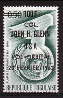 Togo 1962 Col Glens Space Flight With 100f On 50 Cent Surcharge In Black. - Togo (1960-...)