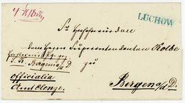 """LÜCHOW"" Guter Blauer L 1 Von Lenthe Typ B Packetbegleitbrief 4 Pfd. 18 Loth An Den Superintendenten Kolbe In Bergen A. - Hannover"