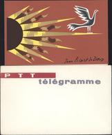 Formule Télégramme Illustré Jean Picart Le Doux Avec Enveloppe Neuve - Télégraphes Et Téléphones