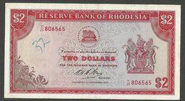 RHODESIA 2 DOLLARS 1970-09-08 PICK # 31c EF-VF RARE - Rhodesia