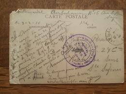 Cachet Hopital Auxiliaire N°15 Aix Les Bains - Société De Secours Aux Blessés Militaires - FM - TAD - Sainte Savine 1916 - Marcophilie (Lettres)