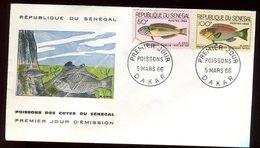 Sénégal - Enveloppe FDC 1966 - Poissons - O 299 - Sénégal (1960-...)