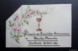 Image Religieuse Faite Main Sur Celluloid - Souvenir De Communion 1891 - Devotion Images