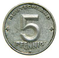 [NC] GERMANIA DDR - 5 PFENNIG 1950 A - [ 6] 1949-1990 : RDA - Rep. Dem. Tedesca