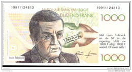 Bankbiljet 1000Fr Verkiezingspropaganda 1991, Tobback, Verhofstadt, Van Rompuy (MT6) - [ 8] Specimen
