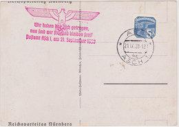 GERMANY SUDETES 1938 (21.9.) REUSED PICT.PC (Nürnberg) LIBERATION CACHET ASCH (Czechosl.stamp) - Allemagne