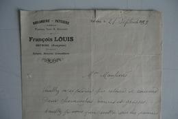 (051) FACTURES DOCUMENTS COMMERCIAUX. 12 AVEYRON ESTAING. Boulangerie, Patisserie. FRANCOIS LOUIS. 1933. - Alimentaire
