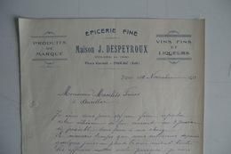 (052) FACTURES DOCUMENTS COMMERCIAUX. 46 LOT FIGEAC. épicerie Fine. MAISON J. DESPEYROUX. 1933. - Alimentaire