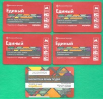 "Set 4 Pcs Metro Ticket, Tram, Bus, Trolleybus Of Moscow , ""Poems By S. Marshak"" 2015  Set - Europa"