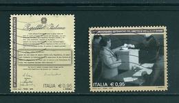 2016 DONNA MINISTRO E VOTO ALLE DONNE SERIE COMPLETA USATO - 6. 1946-.. Repubblica