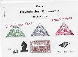 Ethiopia World Chess Oscar 1979; Chess Ajedrez World Chess Oscar Karpov MISPRINT RED - Ethiopia