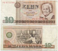 DDR 1971, 10 Mark, Staatsbank DDR, C. Zetkin, KN 7stellig, Geldschein, Banknote - [ 6] 1949-1990: DDR - Duitse Dem. Rep.