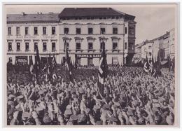 DT- Reich (002181) Propaganda Sammelbild Deutschland Erwacht Bild 101, Überall Erwacht Das Volk, Aufmarsch In Meiningen - Briefe U. Dokumente