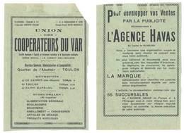 2 Feuillets Publicitaires Découpés : Union Des Coopérateurs Du Var, Agence Havas, Force Motrice T.S.F., Hyères ... - Publicités