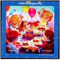 Austria Österreich 2017  Blockausgabe: Comicmarken-Puzzle (VI) - Geburtstagsparty. Odr.; Selbstkl  USED / O / GESTEMPELT - 1945-.... 2. Republik