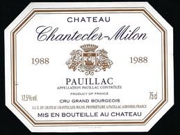 Etiquette Vin Chateau  Chanteclerc Milon Pauillac  1988 - Bordeaux