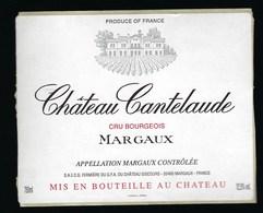 Etiquette Vin Chateau  Cantelaude Cru Bourgeois Margaux - Bordeaux