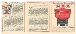Dépliant 3 Volets - Publicitaire Buanderie Rex, Chauffe Les Aliments ... ( Le Rêve De Perrette ), Animaux, La Fontaine - Publicités