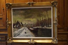 Belle Huile Sur Toile Signé Faure,belle Peinture Ancienne,100 Cm. Sur 80 Cm. Avec Encadrement - Oils