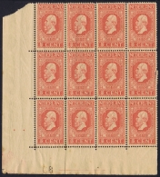 Netherlands: NVPH 92  In Corner Sheet Of 9 Postfrisch MNH/** Printers Mark Some Damage To The Right Some Loose Perfor - Periode 1891-1948 (Wilhelmina)