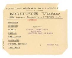 Imprimé Publicitaire  Moutte Victor , Hyères, Machines, Semences, Plants, Engrais .. - Publicités