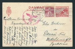Postkarte MiNr. P214 + Zusatzfrankatur 244 X Von Kopenhagen Nach Dessau (Deutschland), Roter Zensurstempel Der Wehrmacht - Postwaardestukken