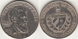 Cuba 40 Centavos 1962 Revolutionary Camilo Cienfuegos Gorriarán KM#32 - Used - Cuba