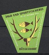 Reklamemarke Düsseldorf, Int. Ausstellung Für Jagd - Und Sportfischerei 1954, Hirschgeweih & Fische, Grün - Erinnofilia