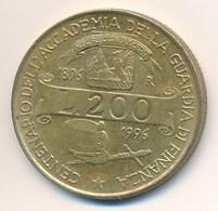 Italien 1996 Münze 200 Lire Hut + Degen Accademia Della Guardia Di Finanza 1896 - 1996 - 1946-…: Republik