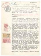 """Feuille """" Citation Au Commerce """" Hyères 1937, Timbres Fiscaux, De Dimension - Mr Géant, Huissier, Mr Moutte ... - Vieux Papiers"""