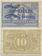 BRD 1948, 10 Pfennig, Bank Deutscher Länder, Geldschein, Banknote - [ 7] 1949-… : RFA - Rep. Fed. Tedesca