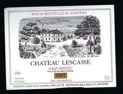 """Etiquette Vin  Chateau  Lescasse   Haut   Medoc Cru  Bourgeois 1991  """"chateau Brillette Propriétaire"""" - Bordeaux"""