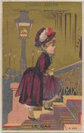 Chromo H.Laas 604 Fond Or - Le Gaz - Femme Montant Un Escalier à La Lueur D'un Réverbère - Poulain