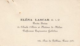 Eléna LASCAR - Perita Serica De L'école D'Arts Et Métiers De Milan - Cartes De Visite