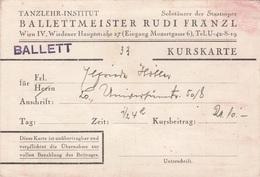 Alte BALLETT KURSKARTE - Eintrittskarten