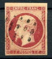 RC 10218 FRANCE N° 18 - 1f CARMIN OBL ROULETTE DE POINTS SIGNÉ CALVES COTE 4000€ PETITS DEFAUTS - 1853-1860 Napoléon III.