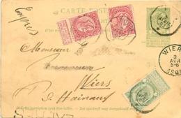 Belgique. CP 27 + TP 56 + 58 (x 2, Dont 1 Déchiré) Exprès Boom > Wiers   1901 - 1893-1900 Fine Barbe