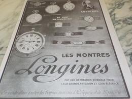 ANCIENNE PUBLICITE MONTRE LONGINES REPUTATION MONDIAL 1916 - Autres