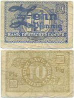 BRD 1948, 10 Pfennig, Bank Deutscher Länder, Geldschein, Banknote - [ 7] 1949-… : RFD - Rep. Fed. Duitsland