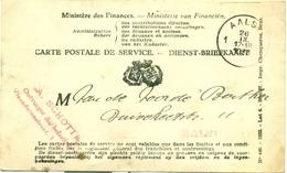 Dienst-Briefkaart Ministerie Van Financiën - Ontvanger Der Belastingen Aalst 1933 Voor Taks Op Biljart - Documents Historiques
