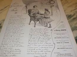 ANCIENNE PUBLICITE QUESTION DE DIDI MONTRE ZENITH   1915 - Jewels & Clocks