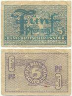BRD 1948, 5 Pfennig, Bank Deutscher Länder, Geldschein, Banknote - [ 7] 1949-… : RFD - Rep. Fed. Duitsland