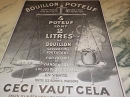 ANCIENNE PUBLICITE BOUILLION POTEUF 1915 - Posters