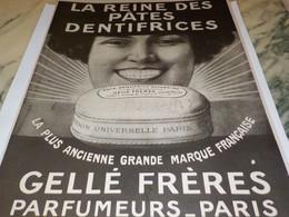 ANCIENNE PUBLICITE DENTIFRICE GELLE FRERES 1917 - Parfums & Beauté