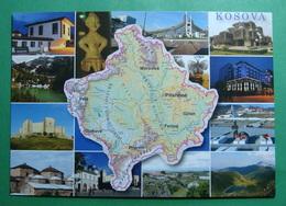 Map Of KOSOVO, Different Cities, Kosovo (Serbia) New Postcards. - Kosovo