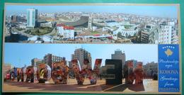 Capital City PRISTINA, Multiview, LONG POSTCARD, Kosovo (Serbia) New Postcards. - Kosovo