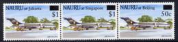 Nauru 1995 Stamp Exhibitions Surcharged Strip Of 3 U/m SG 438-40 AVIATION - Micronesia