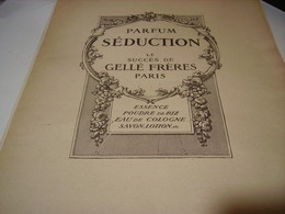 ANCIENNE PUBLICITE PARFUM SEDUCTION GELLE FRERES 1917 - Parfums & Beauté