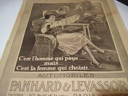ANCIENNE PUBLICITE LA FEMME CHOISIT L HOMME PAYE DE PANHARD 1927 - Trucks